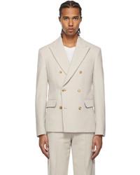 Amiri Off White Boiled Wool Double Breasted Blazer