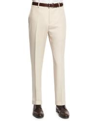 Zanella Parker Gabardine Wool Trousers Tan