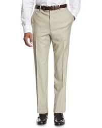 Brioni Wool Flat Front Trousers Tan