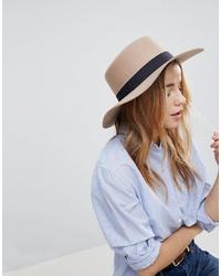 ASOS DESIGN Felt Boater Hat In Light Camel With Size Adjuster