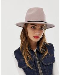ASOS DESIGN Felt Panama Hat With Plait And Size Adjuster