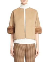 Michael Kors Michl Kors Genuine Mink Fur Cuff Wool Blend Jacket