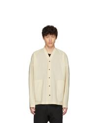 Beige Wool Long Sleeve Shirt