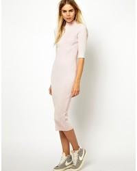 Beige Wool Midi Dress