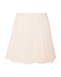 Valentino Scalloped Wool And De Poudre Mini Skirt