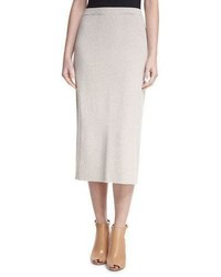 Beige Wool Pencil Skirt