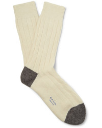 Paul Smith Two Tone Ribbed Wool Blend Socks