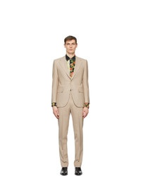 Husbands Beige Fresco Single Breasted Suit