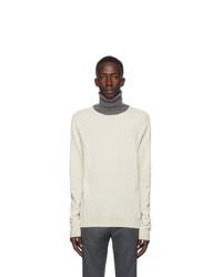 Maison Margiela Off White Colorblock Turtleneck Sweater