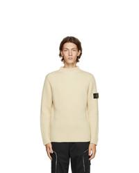 Stone Island Off White Wool Mock Neck Sweater