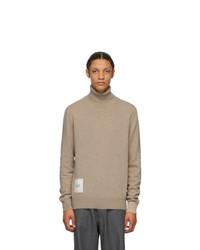 Maison Margiela Tan Recycled Cashmere Gauge 12 Turtleneck Sweater