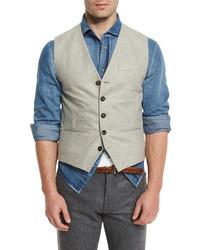 Brunello Cucinelli Flannel Wool Waistcoat Tan