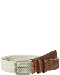Beige Woven Leather Belt