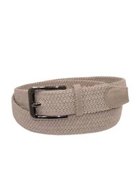 CTM Matching Leather Fabric Stretch Belt Beige S