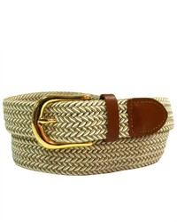 Luxury Divas Beige White Braided Elastic Stretch Leather Tipped Belt