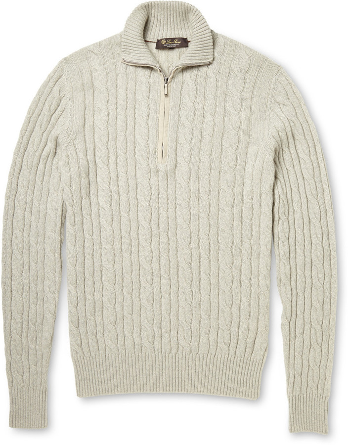 ... Loro Piana Cable Knit Baby Cashmere Half Zip Sweater ...