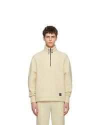 AMI Alexandre Mattiussi Off White Wool Half Zip Sweater