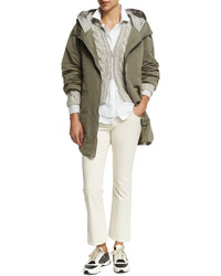 Brunello Cucinelli Long Sleeve Zip Front Cardigan Haze