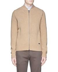 Armani Collezioni Zip Front Wool Cardigan