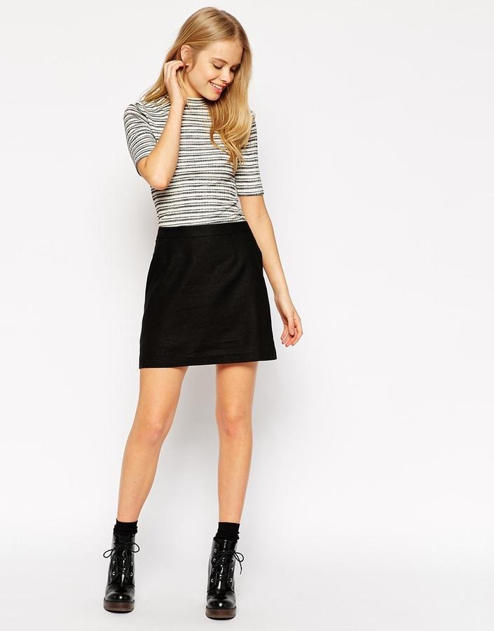 2289600b6dc4 Asos Collection A Line Linen Mini Skirt, $34 | Asos | Lookastic.com