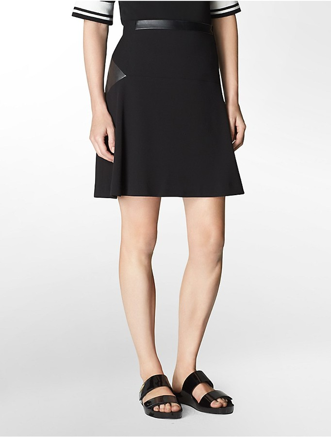 calvin klein faux leather accent ponte knit flared skirt
