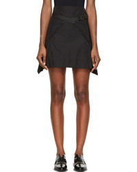 Denis Gagnon Black A Line Belted Mini Skirt
