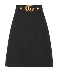 Gucci Embellished Wool And Crepe Skirt