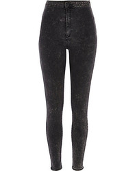 River Island Black Acid Wash Tube Pants