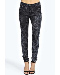 Boohoo Evie Low Rise Super Skinny Black Marble Wash Jeans