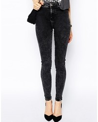 Collection rivington high waist denim jeggings in black acid wash medium 117284