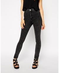 Rivington high waist denim jeggings in black acid wash black acid wash medium 117285