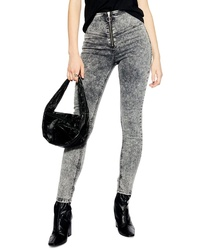Topshop Acid Wash Front Zip Jeans