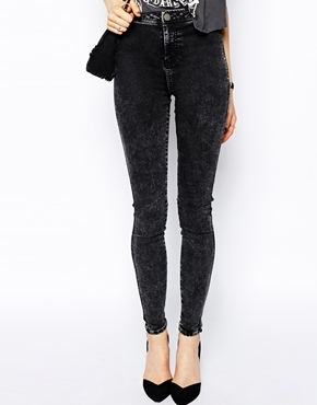 select for best free shipping classic style $51, Asos Collection Rivington High Waist Denim Jeggings In Black Acid Wash