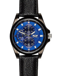 River Island Black Blue Textured Face Watch