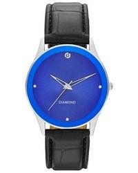 Merona Black Strap Watch With Genuine Diamond Tm