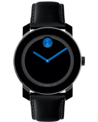 Movado Bold Bold Black And Blue Leather Watch