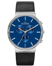 Skagen Chronograph Leather Strap Watch 40mm