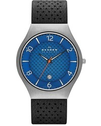Skagen Grenen Titanium Leather Strap Watch 41mm