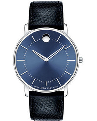 Movado Stainless Steel Round Watch With Leather Strap