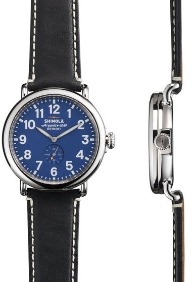 943c4518d Shinola The Runwell 40mm Blue Face Black Leather, $550 | Ron Herman |  Lookastic.com
