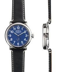 Shinola The Runwell 40mm Blue Face Black Leather