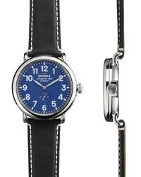 Shinola The Runwell 40mm Blue Face Black Leather