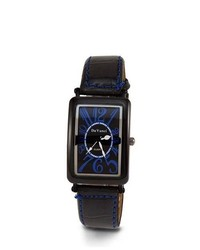 VistaBella Black Leather Pu Strap Blue Dial New Watch