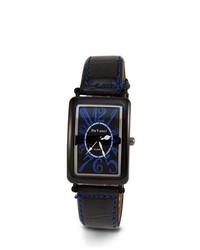 VistaBella Black Leather Pu Strap Blue Dial New Watch