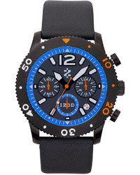 Izod Watch Unisex Chronograph Black Leather Strap 42mm Izs6 5blue Orange