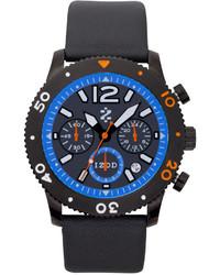 Izod Watch Unisex Chronograph Black Leather Strap 42mm Izs6 5blue Orange