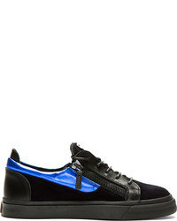 Black and Blue Low Top Sneakers