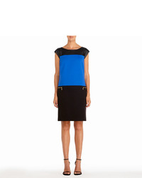 Jones New York Color Block Dress In Black And Cobalt Blue