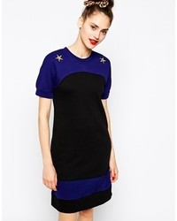 Love moschino 34 sleeve sweater dress with star detail black blue medium 119126