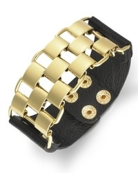 Bar III Gold Tone Chain And Black Leather Bracelet